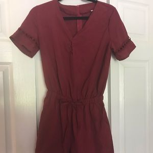Dark Red Romper
